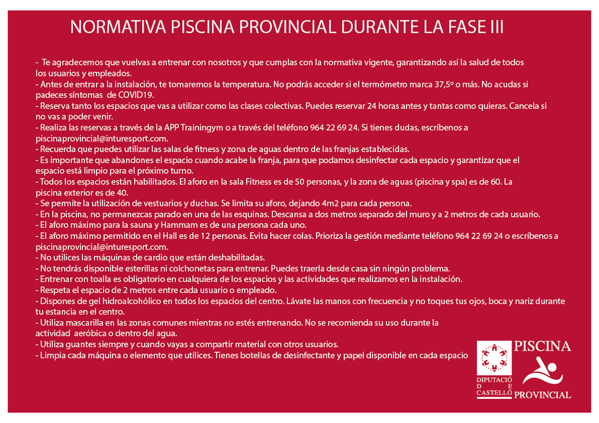 NORMATIVA PISCINA PROVINCIAL DURANTE LA FASE III