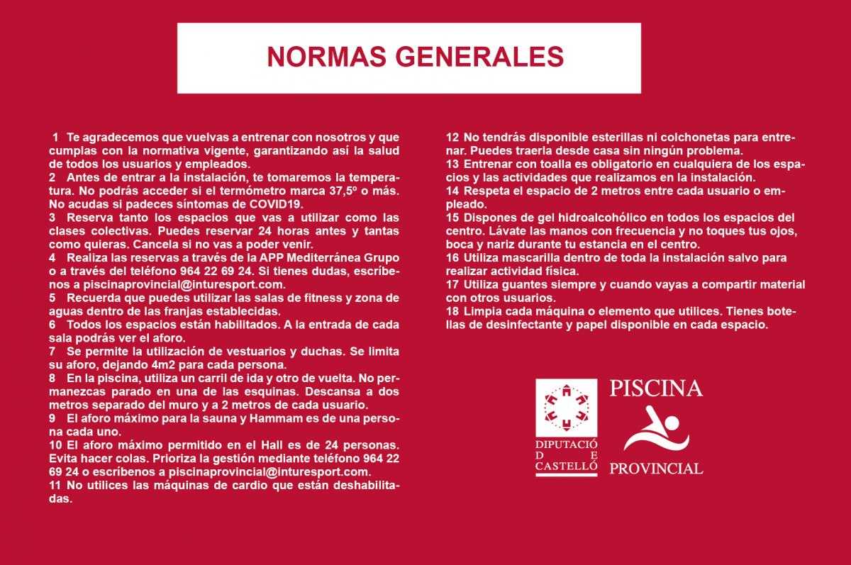 NORMAS GENERALES USO - COVID19